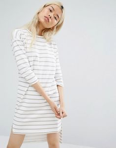 Native Youth Long Sleeve T-Shirt Dress In Breton Stripe $58