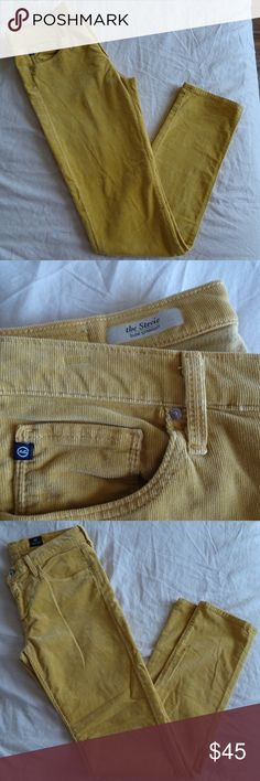 """AG for ANTHRO The Stevie Cords Slim Straight 29R Great condition Mustard color slight stretch, cotton lycra blend Across at Waist 15"""" Inseam 30"""" Ag Adriano Goldschmied Pants"""