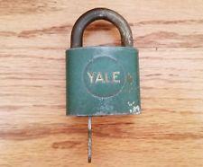 Vintage YALE Padlock & Key green USA