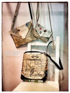 #Upcycling Bags out of repurposed newspaper, letters, music sheets and dictionary sheets. History included...