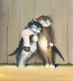 Friends - Cat Art,  Print from Original Oil Cat Painting, Fun Cats, Cute Cats, Kitten Bar Accessory Decor. $15.00, via Etsy.