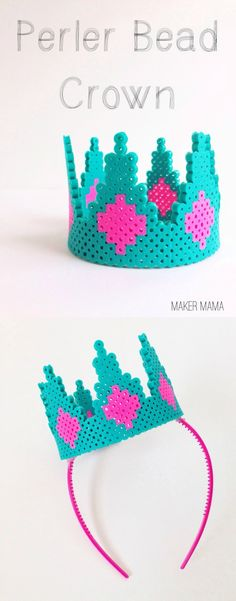 Do you love crafting with perler beads? Make a unique perler bead crown with this easy tutorial! Do you love crafting with perler beads? Make a unique perler bead crown with this easy tutorial! Perler Beads, Fuse Beads, Hama Beads Patterns, Beading Patterns, Crown For Kids, Art Perle, Motifs Perler, 8bit Art, Melting Beads