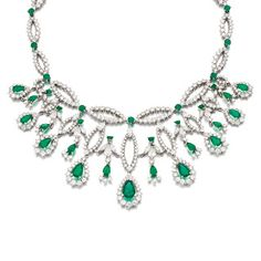An emerald and diamond necklace by J. Roca, 1970s.
