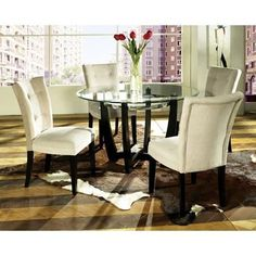 Enjoy a lavish dinner with round dining room sets Stylish . Trend Round Dining Room Table Sets 95 On Small Home Decor Inspiration round dining room table sets Round Dining Room Sets, Glass Round Dining Table, Dining Room Furniture Sets, Pedestal Dining Table, Dining Table In Kitchen, Dining Room Chairs, Round Glass, Dining Tables, Furniture Ideas