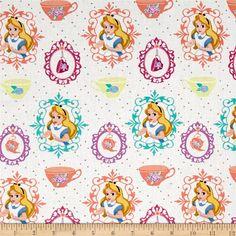 Camelot Fabric Alice In Wonderland Falling into in Light Grey HALF METRE