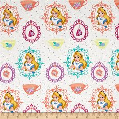 Disney Alice Tea Time Alice and Teacups White from @fabricdotcom  Licensed by Disney to Springs Creative Products, this cotton print is perfect for quilting, apparel and home décor accents. Colors include white, purple, peach, teal, yellow and black. This is a licensed fabric and not for commercial use.