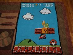 Incredible Tunisian Crochet AFghan!  Super Mario Brothers Afghan by TracyT@4