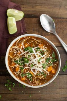 Sweet Potato Sriracha Noodle Soup | 27 Delicious And Hearty Soups With No Meat