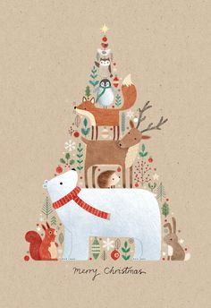 'Animals in a tree shape' - Christmas card template you can print or send online as eCard for free. Personalize with your own message, photos and stickers. Christmas Card Template, Christmas Greeting Cards, Christmas Greetings, Christmas Card Designs, Printable Christmas Cards, Merry Christmas Card, Christmas Mood, Christmas Crafts, Christmas Decorations