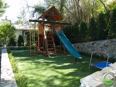Artificial synthetic grass playground area is safe for children of all ages. Mill Valley, California.