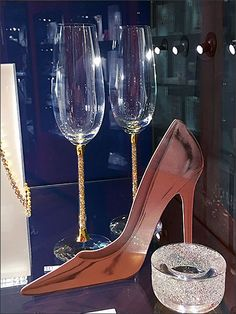 How better for Swarovski® to hint at a formal occasion for toasting glasses than a sexy stiletto high heel? Don't have a pair of high heels handy or available for long term loan, create the impress. High Heels Stilettos, Stiletto Heels, Foamcore, Long Term Loans, Visual Merchandising, Swarovski, Toast, Retail, Crystals