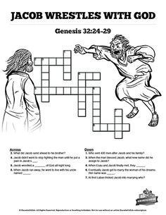 The Story Of Jacob Wrestling With God Sunday School Crossword Puzzles These