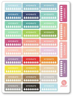Hydrate Half Box Planner Stickers for Erin Condren by KGPlanner More