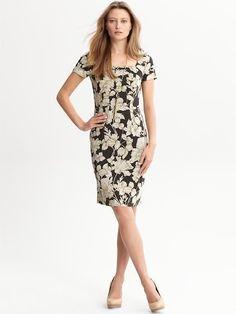 Banana Republic Spring 12 Grey Sophia Floral Dress Size 12 Petite $140.00