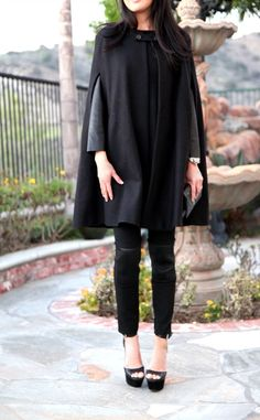 a sentimental & chic piece This cape is so chic. I have decided now that just like a black fur or faux fur coat, every girl needs a black cape. Zara Cape, Black Cape, Every Girl, Fur Coat, Winter Fashion, Cookie, Normcore, Chic, Style