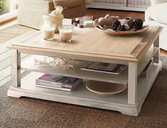 Table basse bois blanc et verre forme carr e catalogue jolipa pinterest - Table basse en pin pas cher ...