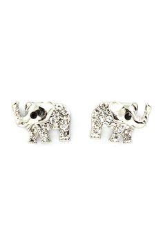 Silver Crystal Elephant Earrings on Emma Stine Limited