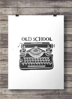 "Typewriter OLD SCHOOL Vintage typewriter print - writers art - Printable typewriter wall art - ""Old school"" digital print Typewriter Tattoo, Diy Crafts Life Hacks, Toy Story Crafts, Old School House, Antique Typewriter, Office Themes, Vintage School, Vintage Typewriters, School Decorations"