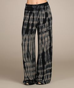 Another great find on #zulily! Black & Gray Tie-Dye Drawstring Palazzo Pants - Women by Chatoyant #zulilyfinds