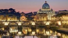Italy, Lazio, Rome, historical center lited as World Heritage by UNESCO, Sant' Angelo bridge (Sant' Angelo ponte) above Tiber river and Saint Peter's basilica. Vatican Rome, Italy Vacation, Italy Travel, Italy Tourism, Italy Honeymoon, Rome Travel, Places To Travel, Places To See, Rome Florence