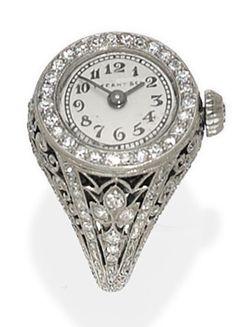 Prsten - hodinky * bílé zlato zdobené diamanty * Tiffany.