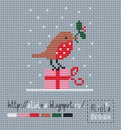 My tvorilki *** Aliolka design: Birds arrived ! Cross Stitch Christmas Cards, Xmas Cross Stitch, Cross Stitching, Cross Stitch Embroidery, Christmas Cross Stitch Patterns, Embroidery Patterns, Hand Embroidery, Theme Noel, Cross Stitch Animals