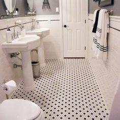 White Hexagon Tile Bathroom Hexagonal Tile Bathroom Black And White Hexagon Tile Hex Bathroom Floor Tile Elegant Black And White White Hexagon Tile Backsplash Bathroom White Hexagon Tile Bathroom, Bathroom Flooring, Hexagon Tile Floor, Flooring, Black Bathroom, House Bathroom, White Mosaic Bathroom, White Bathroom, White Hexagon Tiles