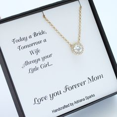 Mother of the Bride Thank You Card with Necklace, Mother of the Bride Necklace…