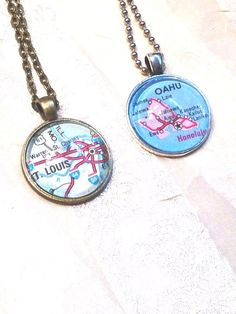 City Dome Necklaces Upcycled From Vintage Maps by NorthCoastCottage, $39.00 #handmade #jewelry #etsy