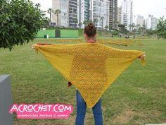 Trabajemos un chal triangular con rombos | Blog a Crochet - ACrochet