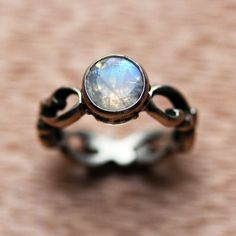 Moonstone engagement ring set - rainbow moonstone - recycled sterling... ($390) ❤ liked on Polyvore featuring jewelry, rings, sterling silver engagement rings, moonstone ring, moonstone engagement ring, band engagement rings and sterling silver rings