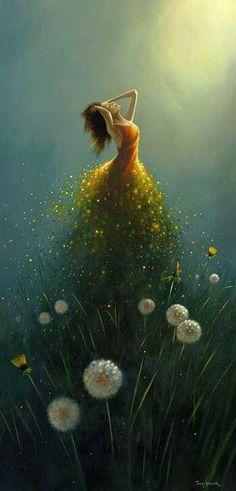 Dandelion Flower Fairy by Jimmy Lawlor Jimmy Lawlor, Dream Art, Fine Art, Oeuvre D'art, Painting & Drawing, Dream Painting, Painting Canvas, Amazing Art, Fantasy Art