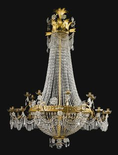 date unspecified An Italian gilt-bronze, gilded and ivory painted tôle, gilded iron and cut-glass chandelier, Genoese first quarter century — GBP - unsold Empire Chandelier, Bronze Chandelier, Antique Chandelier, Antique Lighting, Glass Chandelier, Modern Chandelier, Chandelier Lighting, Farmhouse Lamps, Farmhouse Lighting