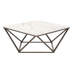 Tintern Coffee Table in Stone & Antique Brass - Zuo Modern Geometry. This gorgeous coffee table with its square marble-like top that rests on an architecturally inspired base is a beautiful addition to any living space. Its modern open-air d Faux Marble Coffee Table, Steel Coffee Table, Round Coffee Table, Modern Coffee Tables, Art Deco Coffee Table, X 23, Table Cafe, Living Room Accents, New Living Room