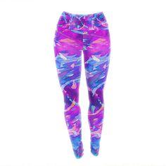 """Ebi Emporium """"Motley Flow 2"""" Purple Blue Yoga Leggings"""