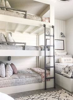 Ok everyone loves a good bunk room.and did an amazing job with this 4 bed bedroom! Decor Style Home Decor Style Decor Tips Maintenance Cute Bedroom Ideas, Room Ideas Bedroom, Awesome Bedrooms, Cool Rooms, Bedroom Decor, Small Rooms, Bed Ideas, Awesome Bunk Beds, Ideas For Bedrooms