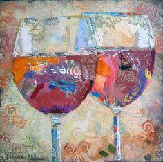 Red wine for two paper collage by Elizabeth st Hilaire Nelson Collage Kunst, Paper Collage Art, Collage Art Mixed Media, Mixed Media Canvas, Art Altéré, Art Textile, Art Plastique, Fabric Art, Medium Art