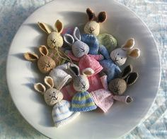 Plate of knitted bunnies