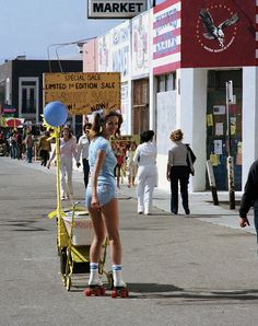 Knee highs and rollerskates. Yes.    Venice Beach Rollerskaters of the 1970s