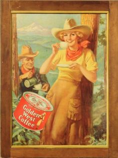 Golden West Coffee Cowgirl Advertising Sign