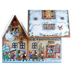 Gingerbread House Fairy Tale Advent Calendar - Glitter dusted - 3-Dimensional - folds out to form a Gingerbread House. A wonderful table center piece.  Hansel and Gretel, Snow White and the Seven Dwarfs, Bremen Town Musicians all around the house. Available at www.mygrowingtraditions.com
