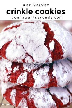 *NEW* Super moist, fudgy, Red Velvet Crinkle Cookies with an unusual ingredient that gives them a really amazing texture! #Redvelvet #Crinkles #Cookies #Dessert