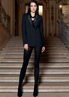 Black tuxedo jacket, black heels, and Pierre Mantoux Veloutine 70 denier pantyhose as pants Colored Tights, Opaque Tights, Black Tights, Black Heels, Black Tuxedo Jacket, Cotton Tights, Tights Outfit, Winter Warmers, Wolford