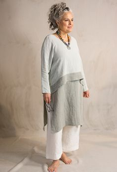 Terry Macey and Angelika Elsebach Spring/Summer Collection 2017. Crop Band top, £175 over Side Split tunic £135 and Crop Morocco trousers £215, linen.