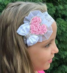Baby girl christening baptism headband Baby pink rosette heart ceb8ec96456