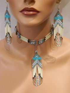 EXCLUSIVE Native American Handmade Quill and Beaded Necklace and Earring Set in Tan and Turquoise – Jewelry Seed Bead Jewelry, Bead Jewellery, Seed Bead Earrings, Seed Beads, Ethnic Jewelry, Pearl Jewelry, Indian Jewelry, Gold Earrings, Native American Earrings