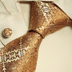 Gold Pattern Ties for Men Father's Day Gift Ideas Accessories Silk Necktie Cufflinks Set A1121 One Size Gold: Clothing  amazon.com