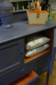 A beautiful cabinet finished in the complimentary colors of Barcelona Orange and Old Violet Chalk Paint® decorative paint by Annie Sloan | By stockist Making the Best of Leighton Buzzard in the UK