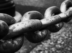 Chain by Zinvolle - Close up of metal chain. Black and white. Close Up Photography, Photography Ideas, Metal Chain, Larger, Objects, Wall Art, Black And White, Life, Blanco Y Negro