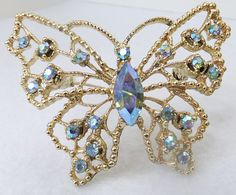Vintage jewelry brooch by DOODS aurora by DevineCollectible Butterfly Wedding, Butterfly Frame, Ribbon On Christmas Tree, Vintage Jewelry, Unique Jewelry, Magical Creatures, Etsy Shop, Trending Outfits, Fashion Boards